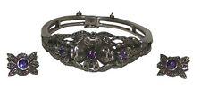 Earrings Set ( 35.9 gms ) Vintage Silver + Amethyst Bracelet +