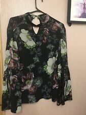 George Black Choker Neck Floral Floaty Blouse Top, Size 18
