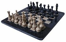 Handmade Black and Coral Marble Two Players Full Chess Game Original Marble Set!
