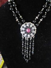 Vintage Rhinestone Medallion Statement Necklace- A Repurposed Original! OOAK!
