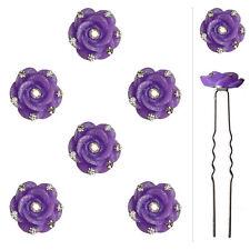 6 épingles pics cheveux chignon mariage mariée fleurs violettes cristal blanc