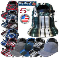 5 Panel Hat Leather Strap-Back Cotton Cap Made in USA Cool PLAID