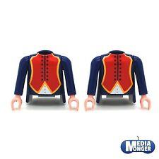 playmobil® 2 x Oberkörper mit Arme   dunkelblau   rot   weiss   Garde   Soldaten