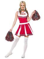 Smiffys Cheerleader Highschool Girl Pom Pom Adult Womens Halloween Costume 40065