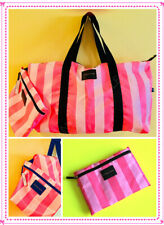 Victoria's Secret Pink Striped Extra Large Weekend Tote Bag + Cosmetic Bag