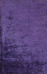 Solid PURPLE Contemporary Oriental Area Rug Hand-knotted Foyer Carpet 5x8 ft