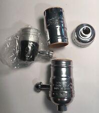 1 New Satco Nickel On/off T/K Quick Slide Light Socket 80/1544