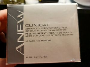 Avon Anew Clinical Advanced Retexturizing Peel 30 Pads New & Sealed 1.47 FL Oz