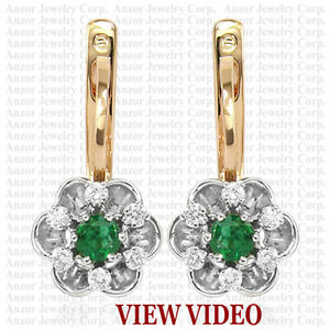 14K SOLID ROSE & WHITE GOLD EMERALD DIAMOND RUSSIAN STYLE EARRINGS