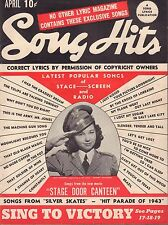 Song Hits Lyric Magazine April 1943 Jane Withers VG 041316DBE