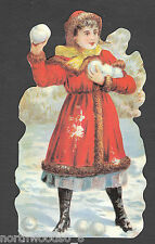 Girl Snow Winter Red Play Greeting Victorian Card Embossed Uk Paper Double