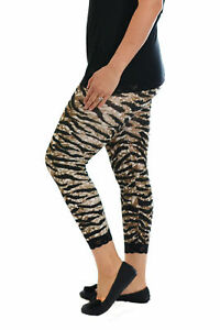 Womens Leggings Plus Size Ladies Cropped Tiger Lace Trim Bottom Cuff Nouvelle