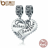 BAMOER Solid S925 Sterling silver Charm Mother and daughter Dangle For bracelet