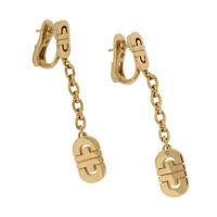 BVLGARI Bulgari Italy Gold Earrings 18K Yellow Parentesi Long Dangle Chain Drop