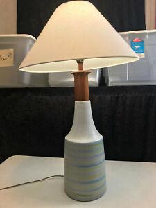 """vintage MCM Gordon Martz Ceramic Wood Table Lamp Marshall Studios 31"""" tall"""