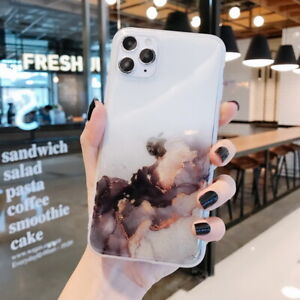 For iPhone 12 Mini 13 Pro Max 11 XS XR X 8 7 Watercolor Marble Soft Case Cover