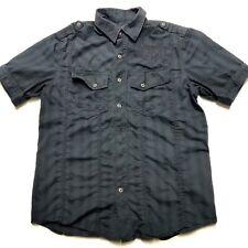 Affliction Black Premium Embroidered Button Up Short Sleeve Shirt Mens Large