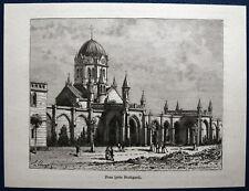 STUTTGART - Pragfriedhof. Originaler Holzstich 1880