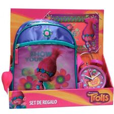 SET REGALO TROLLS MOCHILA + RELOJ + MARCO FOTOS Backpack + Clock + Photo Frame