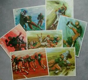 7 VINTAGE GREEN BAY PACKERS IN ACTION MOBILE OIL ART PRINTS BOMBERGER TO FRAME