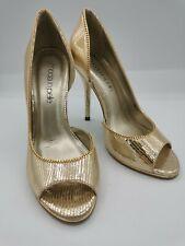 Moda in pelle ladies high heels open toes gold size 38/UK5 003