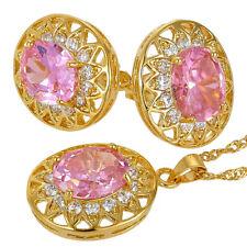 Melina Jewelry Melina Jewelry Set Pink Oval Cut Necklace Pendant Earrings