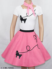 """3-Pc Hot Pink Poodle Skirt Outfit _ Adult Size XL-3XL _ Waist 40""""- 48"""""""