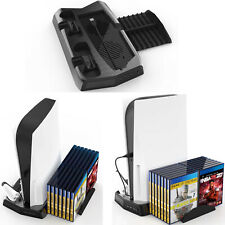 For PS5 DE/UHD Game Accessories Charging Stand W/Cooling Fan Disc Storage Rack