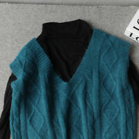 Lady Knitted Vest V Neck Thick Sweater Pullover Student Knitwear Tank Top Casual
