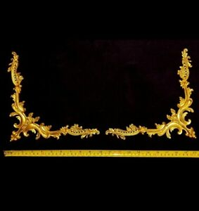 PAIR DECORATIVE MOULDING ANTIQUE LOUIS XVI GOLD GILT OR WHITE WALL DECORATION
