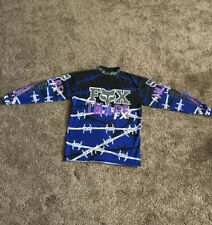 Vintage FOX Motocross Jersey IMAGE FX Black/Blue Size XL Barbed Wire 90s