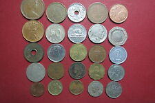 LOT of  25 Mixed EUROPEAN, ASIAN, NORTH AMERICAN COINS, etc. NO DUPLICATE COINS