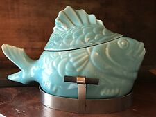 Vtg Bauer Pottery Chicken of the Sea Tuna Salad Baker Dish Bowl w/ Stand Aqua