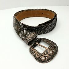 Leather Belt Snake Skin Texture Cooper Tone Rhinestones Buckle Zip Edges Vintage