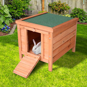 Wooden Rabbit Hutch Bunny Cage Guinea Pig House Pet Habitat Small Animals