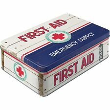 Vintage Style Retro Lidded Storage Tin First Aid Kit - Hinged - New US Style