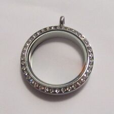 Large Crystal Polished Stainless Steel Screw Floating Charm Living Locket 30mm