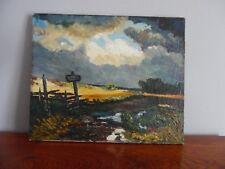 Ancienne Peinture Paysage Tableau Huile Sur Toile Début XX Signée 46 X 38