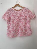 Ladies Top Pink Short Sleeve Oasis Size L <JJ1294