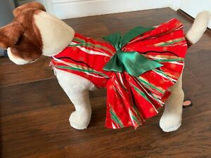 New Handmade Dog Puppy Harness Christmas Holiday Dress Red Green Gold XS