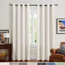 "Burlap Linen Textured Curtains Grommet Top Light Filtering- Ivory 52"" x 95"" Pair"