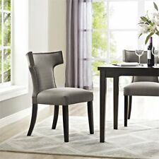 Modway Curve Fabric Upholstered Dining Side Chair in Granite