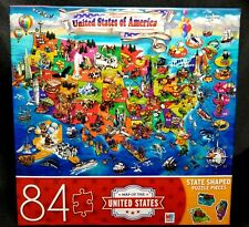 84 Piece United States Of America Map Puzzle w State Shaped Pieces NIB