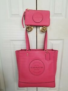 COACH DEMPSEY PEBBLE LEATHER TOTE EUC + NEW MATCHING WALLET