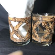 TASTESETTER Rock Wicker Bamboo Low Ball  Glasses Set Of 2 Vintage 1970s MCM