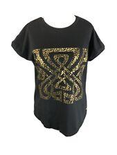 Biba Size UK 10 Black Gold Leopard T Shirt Top Short Sleeved Jersey Stretch
