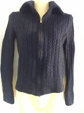 TORY BURCH Black Sweater Cardigan Camel Hair Merino Wool Cable Knit Zip Front XS