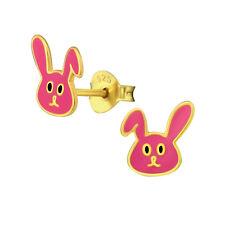 Sterling Silver 925 Pink & Gold Bunny Rabbit Stud Earrings