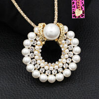Betsey Johnson Women's Pearl Crystal Round Pendant Chain Necklace/Brooch Pin