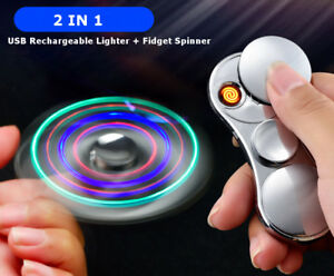 2 In 1 LED Fidget Spinner USB Electronic Coil Lighter Windproof Flameless Gold